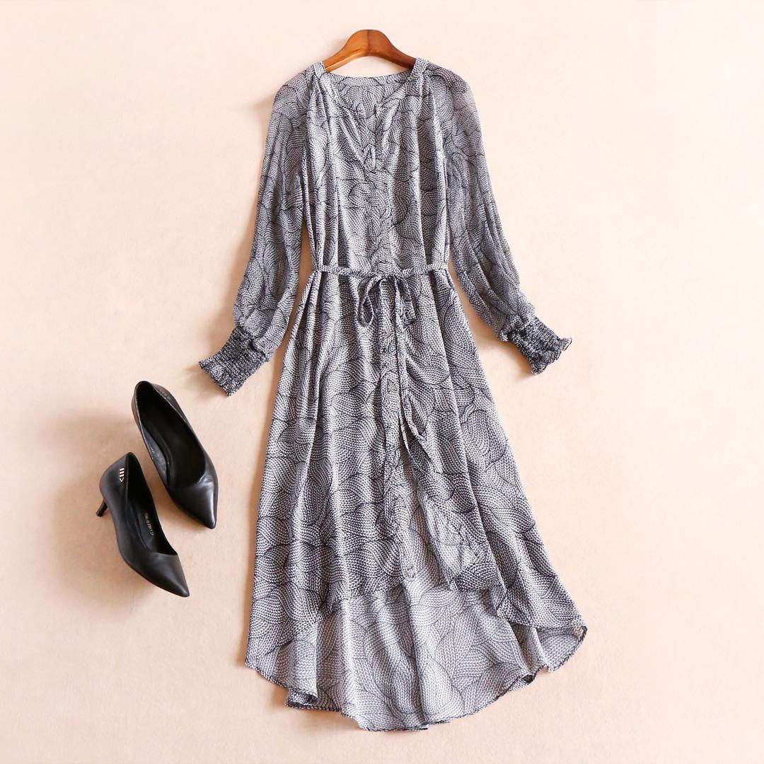 Элегантный элегантный сексуальный трещина мода талия была тонкий печать шелк платье 2018 весна домой S023