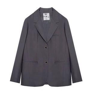 範洛 2020新款秋裝灰色寬鬆休閒小西裝外套女韓版西服