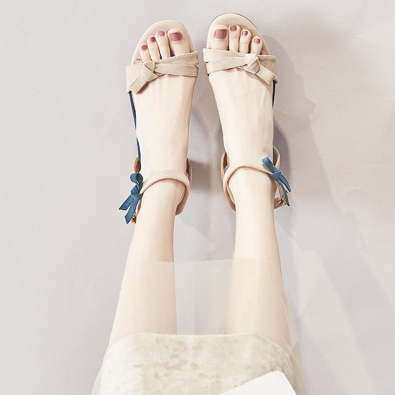 高跟凉鞋女夏季韩版百搭蝴蝶结粗跟仙女风罗马鞋2019新款网红凉鞋