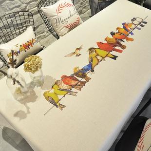 现代欧式ins北欧棉麻防水餐桌布