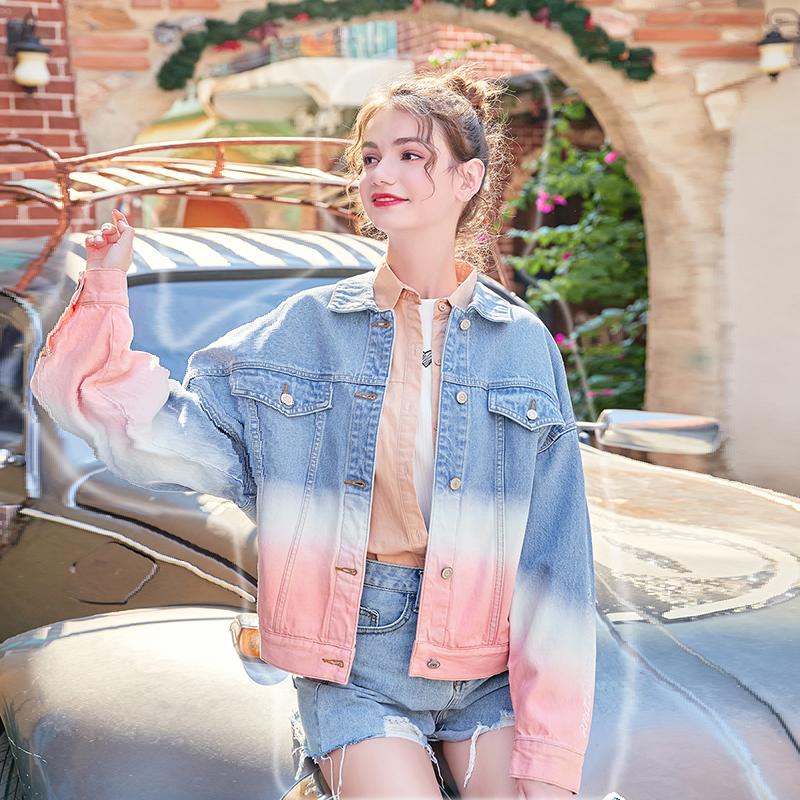 MG小象牛仔外套女韩版宽松bf风2019秋季新款渐变色休闲夹克上衣潮(非品牌)