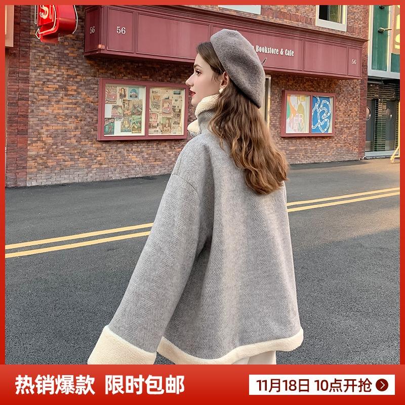 MG小象毛呢外套女短款大衣2019流行秋冬新款小个子宽松羊羔毛呢子