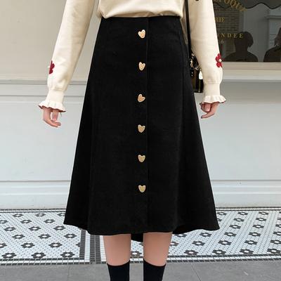 MG小象中长款半身裙女2020春季新款高腰a字裙配毛衣过膝黑色裙子