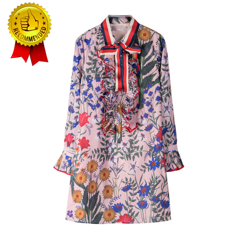Spring and summer hot sale g familys same style lady gorgeous Plant Flower Chiffon print lace up bow dress