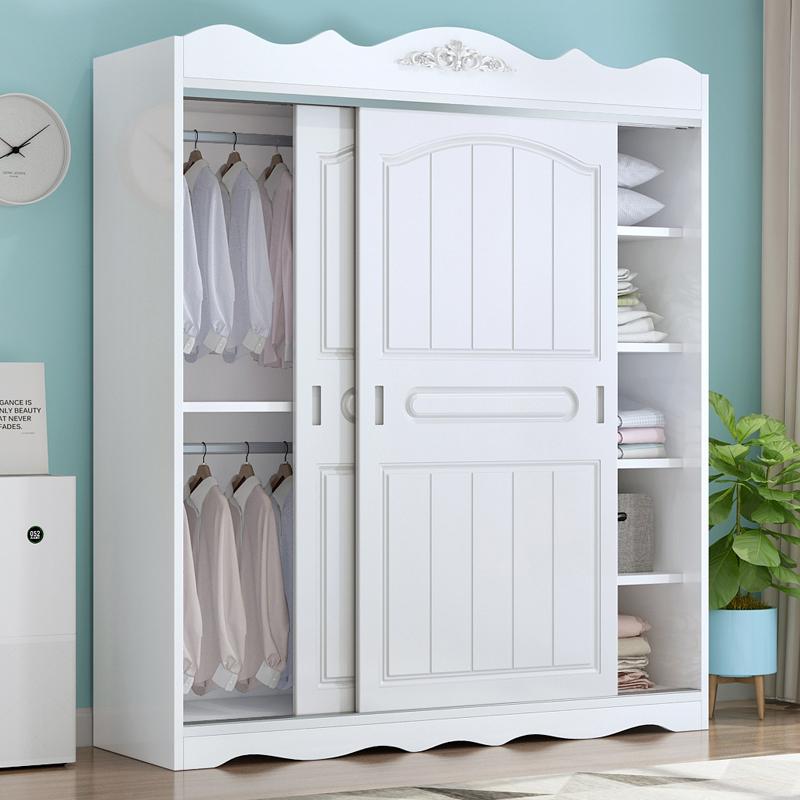 北欧衣柜推拉门实木简约现代储物柜卧室经济型欧式儿童大柜子衣橱