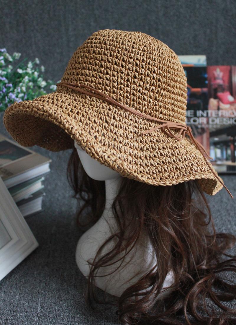 帽子草编凉帽折叠拉菲草帽海边网红遮阳渔夫帽女夏沙滩防晒太阳帽
