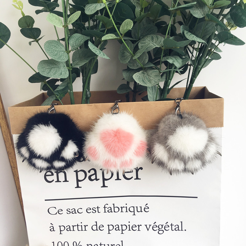 New mink fur cat paw fur pendant cute plush bag pendant genuine fur key ring mobile phone car pendant