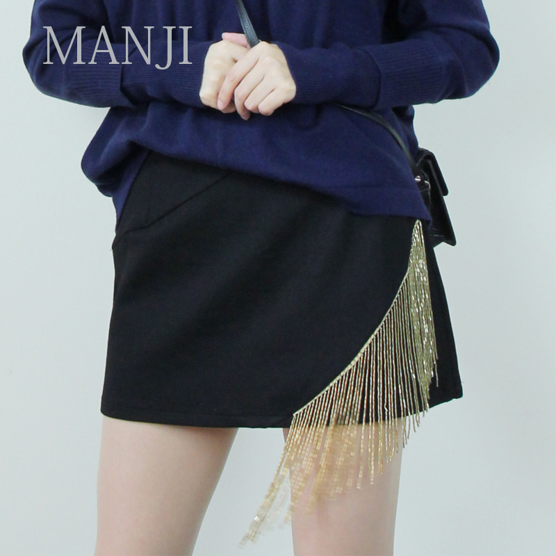 Full season spring and autumn winter womens design small A-line skirt with thin waist and long legs tassel Sexy Mini Skirt