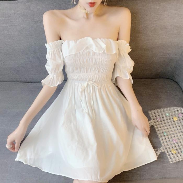 网红露肩一字肩甜美 超仙两穿直播衣服 女主播服装上镜仙气连衣裙