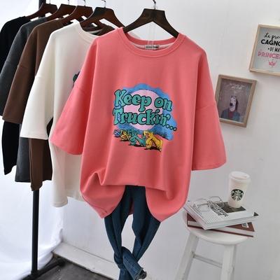 秋冬季磨毛纯棉加厚宽松短袖t恤女加大码卡通印花字母半袖打底衫