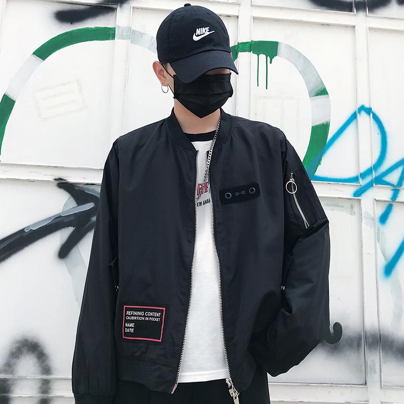 2019春装新款潮牌风男士外套11大码印花宽松夹克情侣装BK131 P55