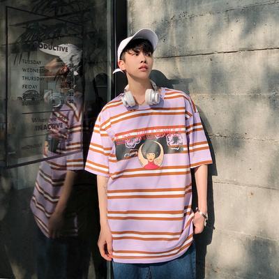 2019夏装新款2卡通印花男装宽松港风条纹短袖T恤 DT02 P45
