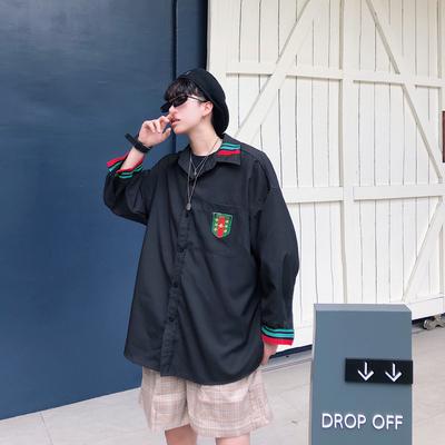 轻薄凉爽 19夏装新款1宽松大码港风男士七分短袖衬衫 ST01 P45