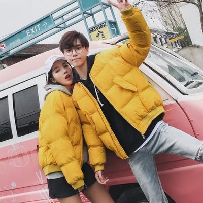 2017冬季新款黄色宽松BF大码男士棉衣情侣装外套 已质检 新增S码