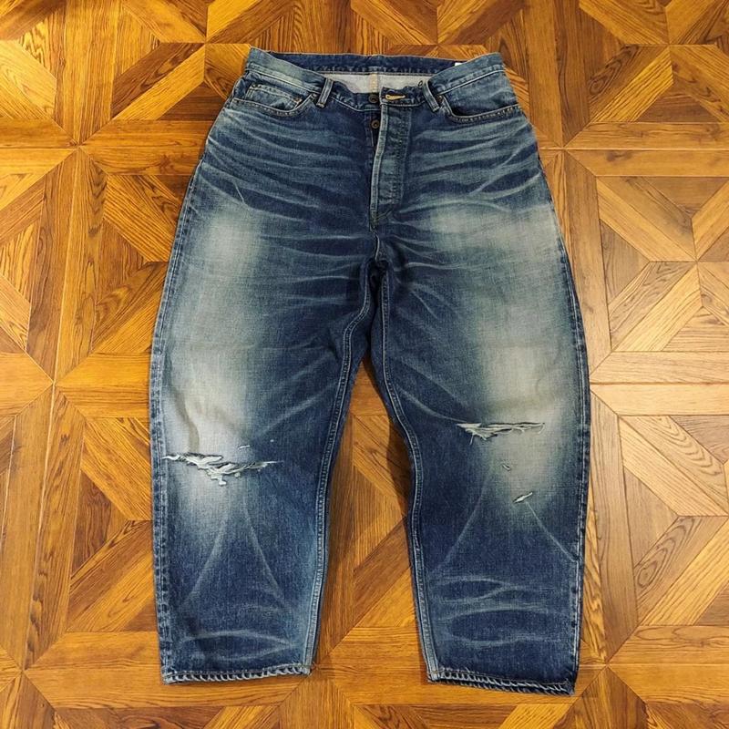 CYCLIC MADNESS余文乐同款六周年限量双刀割破洞水洗宽松跨牛仔裤