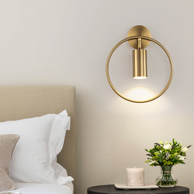 Nordic minimalist ring wall lamp post modern bedroom bedside creative simple stairway porch light luxury wall lamp