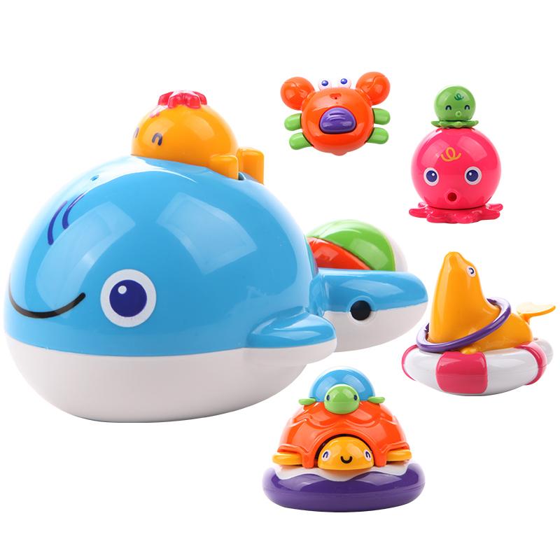 皇室寶寶洗澡沐浴玩具 嬰兒0~1歲噴水戲水鯨魚烏龜海獅動物組