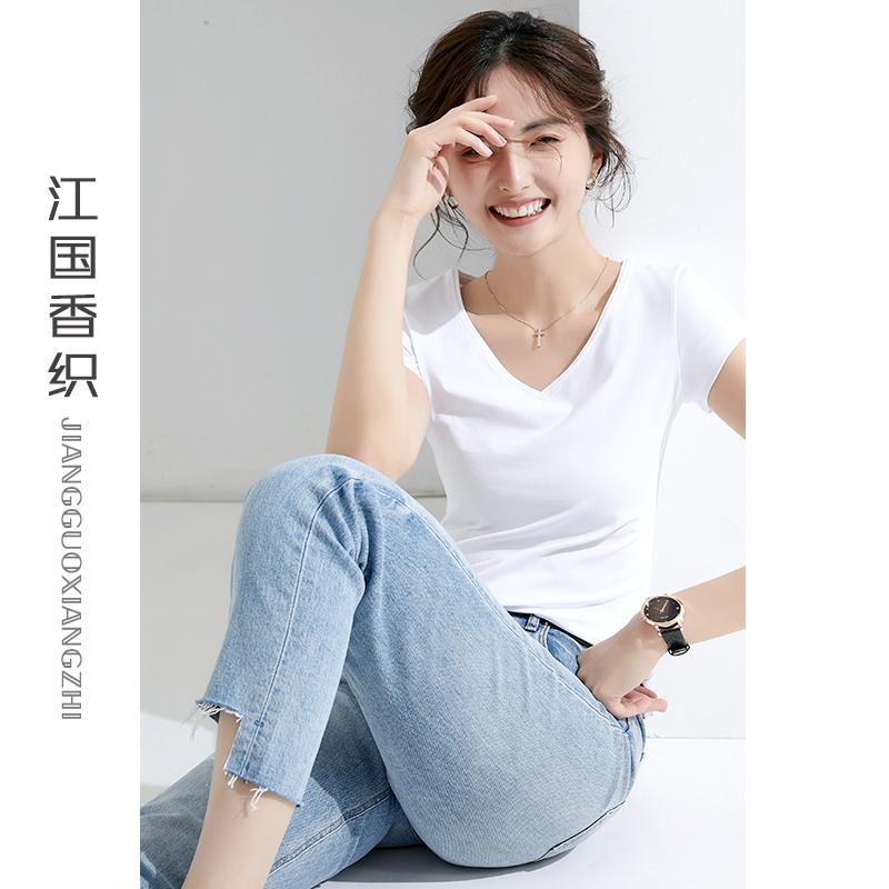 大牌白色t恤女夏短袖2021年新款纯白修身纯棉高端西装内搭上衣