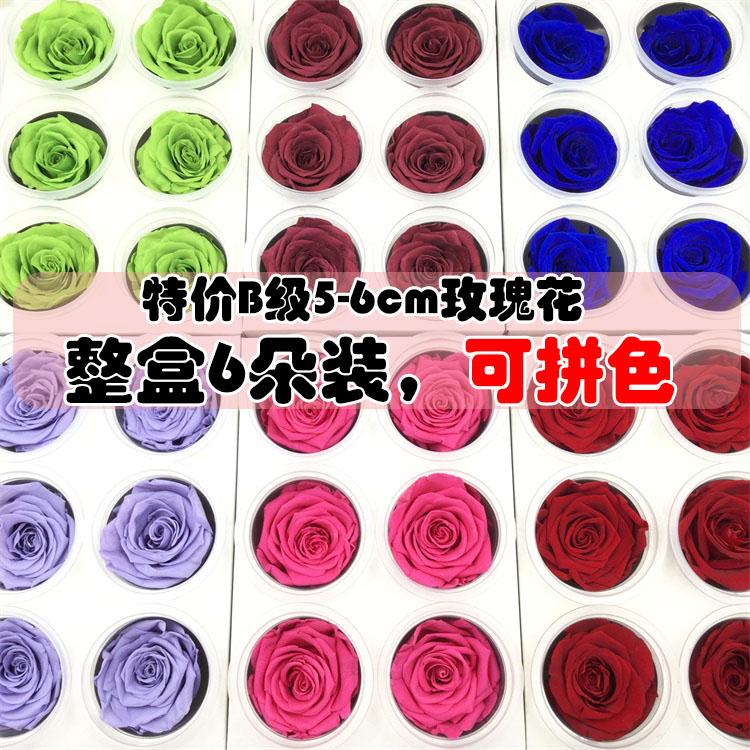 特价永生花保鲜花干花5-6cm玫瑰DIY材料手工制作圣诞节玻璃罩礼物