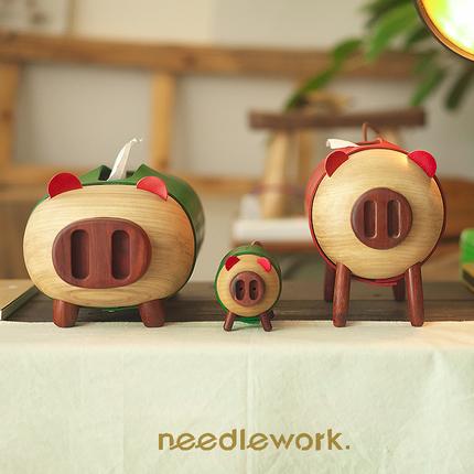 """两针一线 """"猪事佳宜""""系列定做抽纸巾盒 木卷纸筒牙签筒定制送礼"""