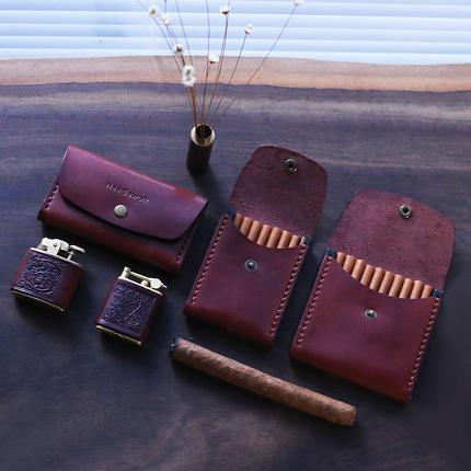 两针一线复古烟盒打火机盒套装真皮男女便携超薄个性木质烟盒