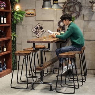 工业实木吧台桌家用隔断高脚长桌咖啡奶茶店酒吧阳台吧台桌椅 美式