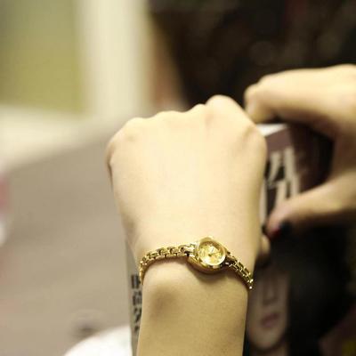 宝石花小金表小巧迷你复古镀金银手链条简约清新休闲手表女石英表