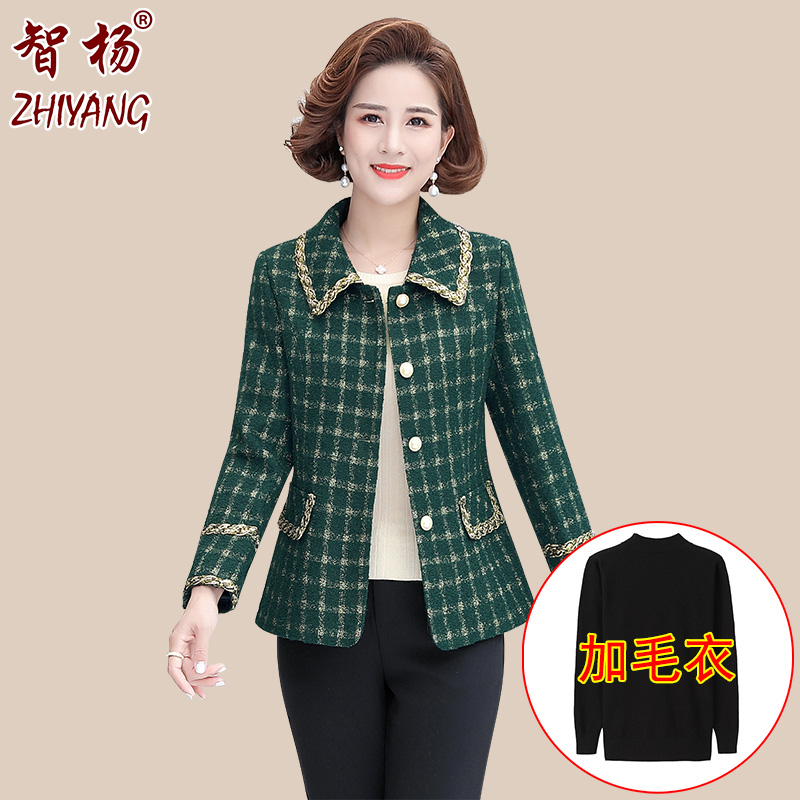 New mothers autumn suit short middle-aged and old womens spring and autumn suit thin middle-aged womens top