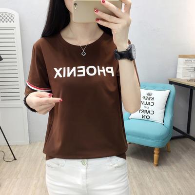 实拍 6653# 2018新款韩版圆领修身印花短袖T恤衫夏季女装T恤