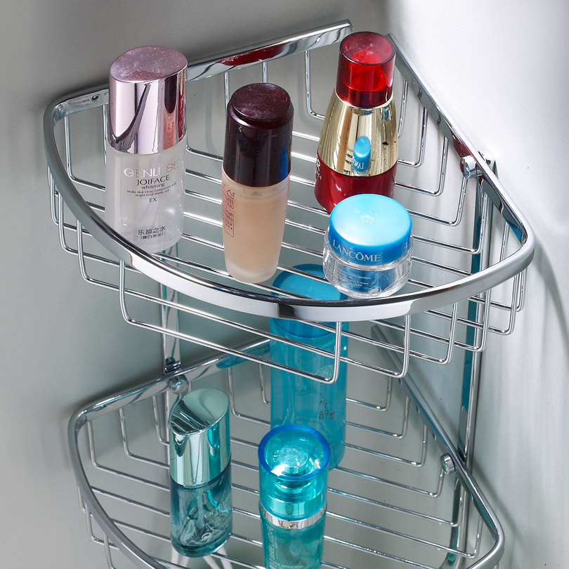 304不鏽鋼三角籃雙層角籃置物籃浴室轉角籃角架衛生間網籃置物架