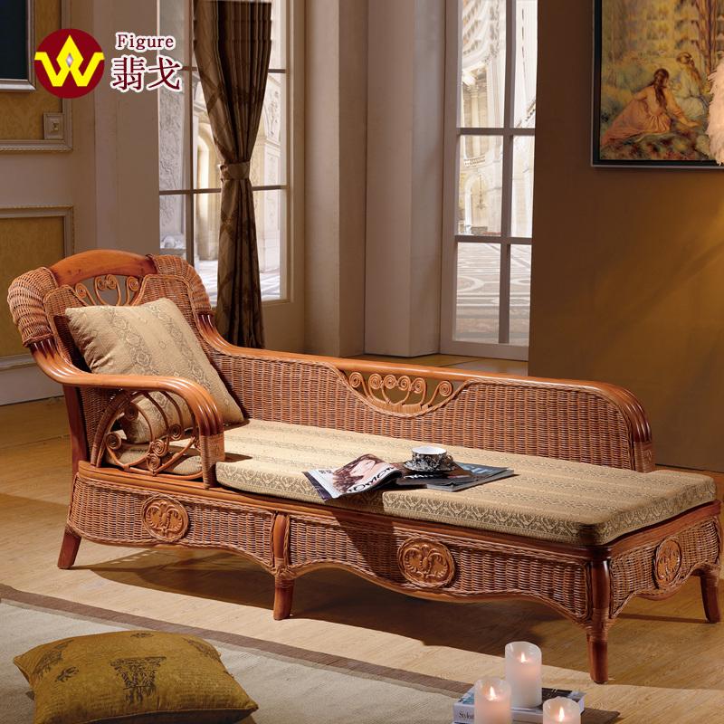 翡戈真藤躺椅藤贵妃椅印尼天然藤艺贵妃躺椅贵妃床榻送坐包靠枕