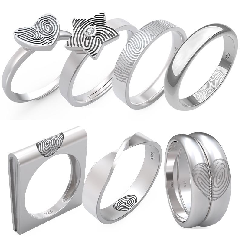纯指纹戒指原创设计情侣个性刻字私人定做老师傅纯手工纪念银饰