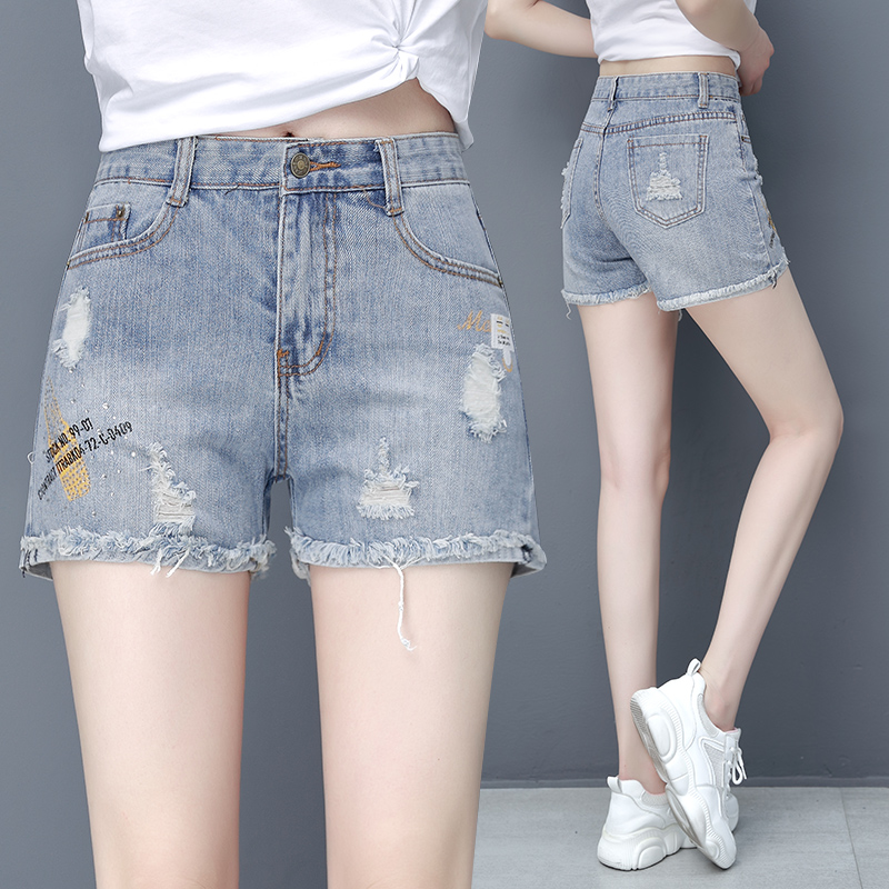 Printed perforated denim shorts womens fashion in summer 2020 new high waist slim wide leg A-line hot pants