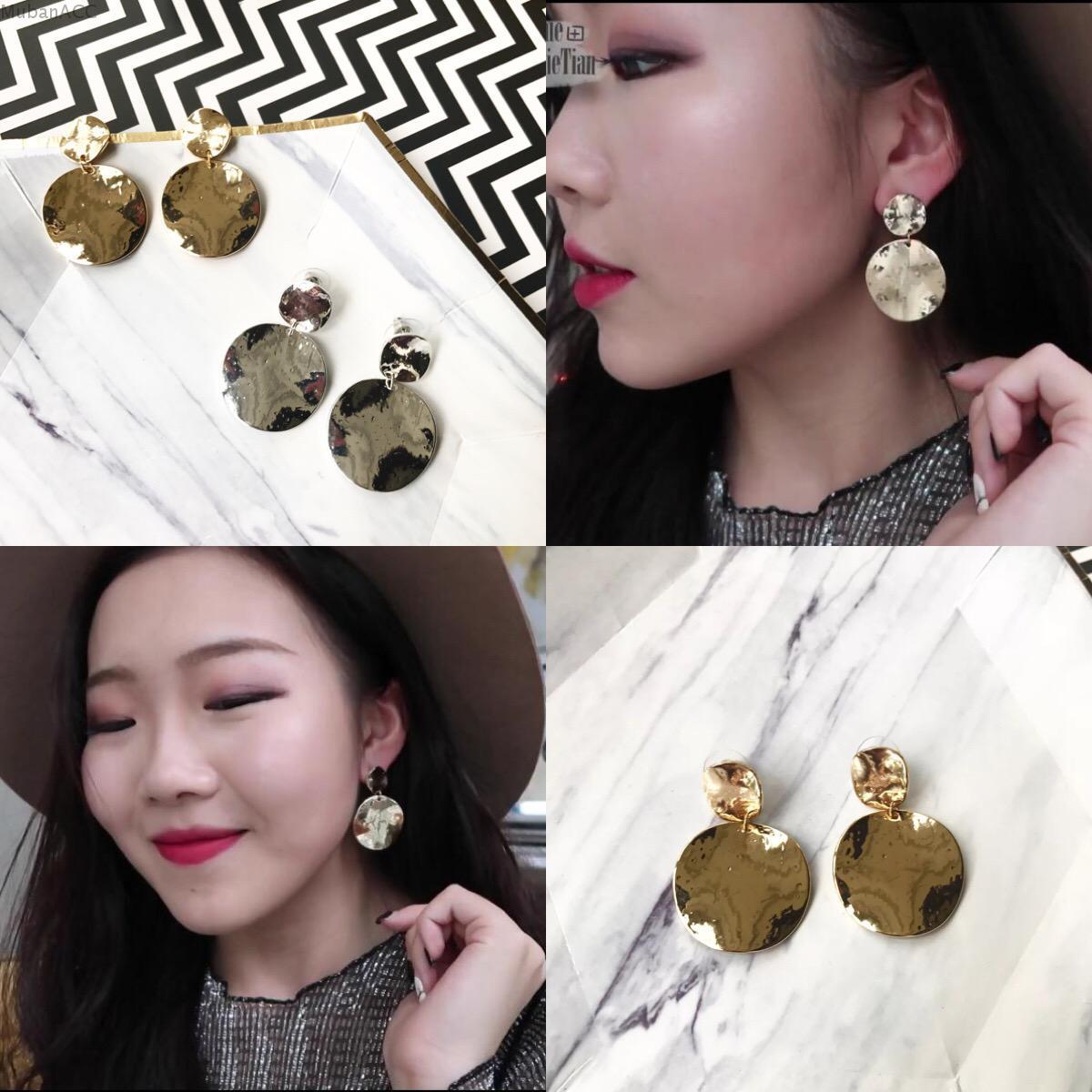 「木| 伴」歐美極簡風凹凸點設計金屬款耳釘耳環耳飾