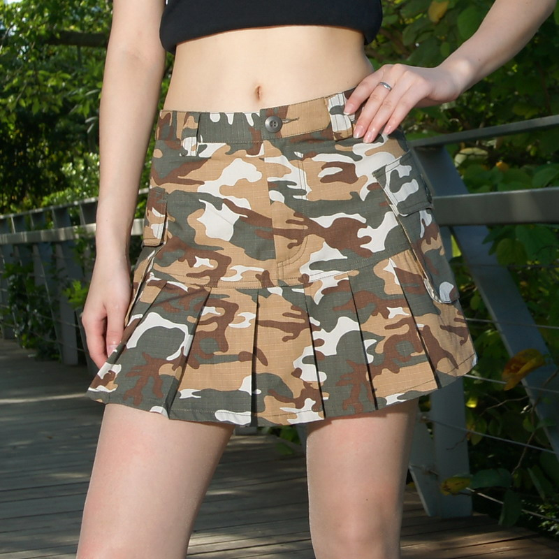 Sexy show thin three-dimensional bag desert camouflage skirt miniskirt womens spring and summer mini size pleated skirt half length skirt