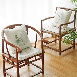 新中式红木沙发坐垫官帽椅座垫实木餐椅圈椅太师椅垫抱枕坐垫套装