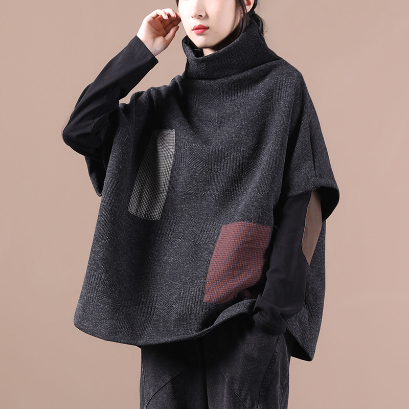 物格秋装2020年新款女韩版宽松大码文艺格子贴布拼接高领短袖马甲