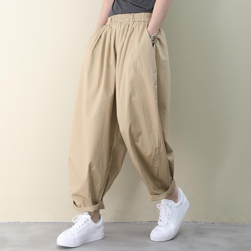 物格 夏装2020新款韩版宽松大码文艺纯色褶皱宽松布衣风休闲裤女