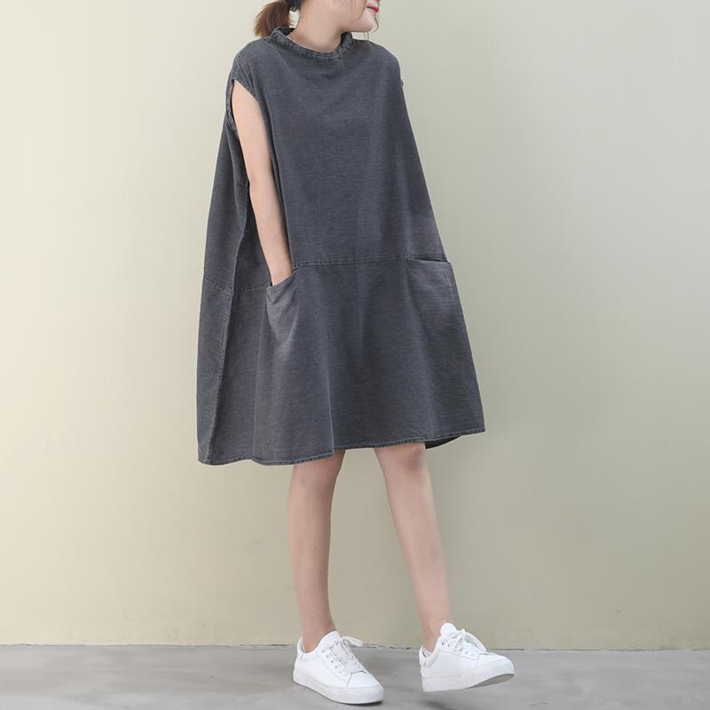 物格  夏装2020新款韩版宽松大码文艺水洗做旧磨白无袖a版连衣裙