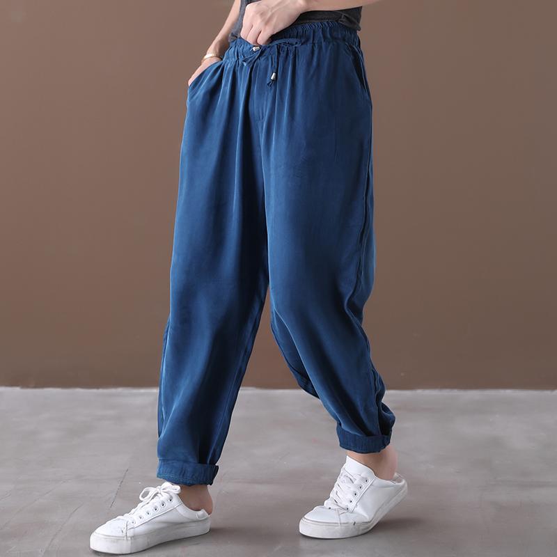 物格 夏装2020新款韩版宽松大码文艺系带铜氨丝百搭显瘦休闲裤