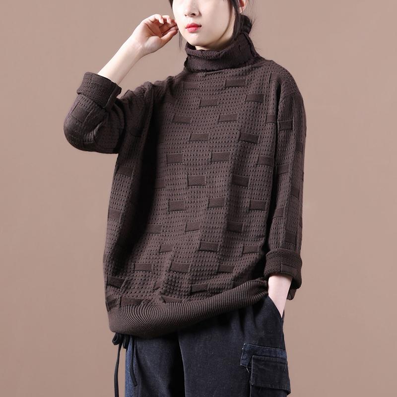 物格新 秋装2020年新款女韩版宽松大码文艺镂空方条高领针织衫女