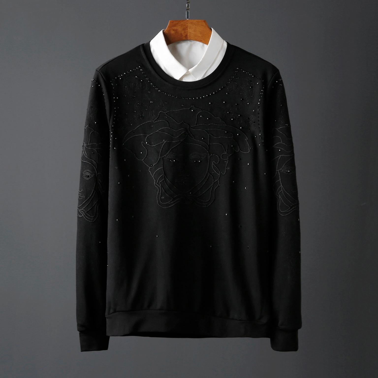 A274/C6209#秋冬高品质烫钻刺绣工艺圆领套头长袖卫衣男P99