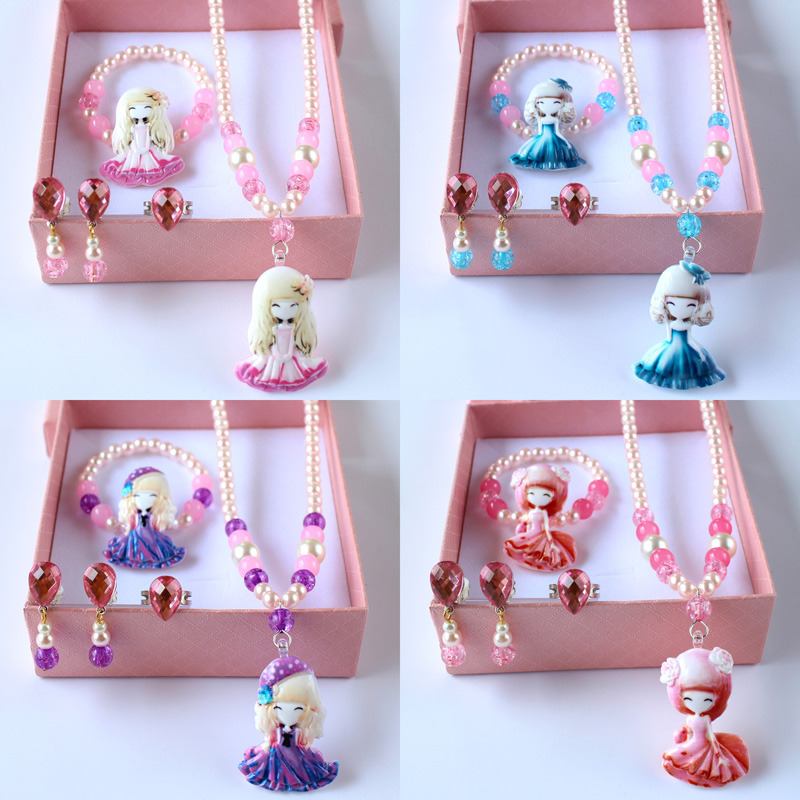 Цвет юбка принцесса ребенок ожерелье ювелирные изделия установите девочки браслет кольцо ребенок клипса ухо подвески девочка аксессуары статья