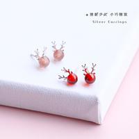 925纯银麋鹿角耳钉女圣诞节红色简约可爱小清新睡觉不用摘的耳环