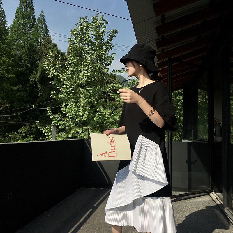 EKOOL下摆不规则拼接开叉宽松连衣裙女夏季中长款显瘦短袖t恤裙子