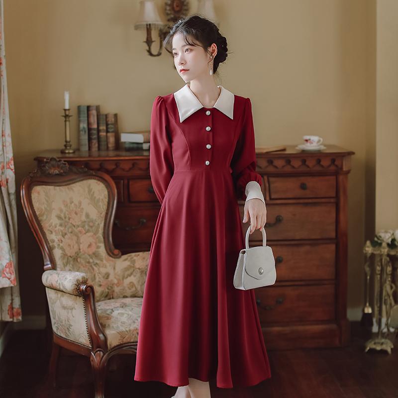 法式复古红色翻领高腰大摆中长款过膝a字及踝长裙打底裙外穿文艺