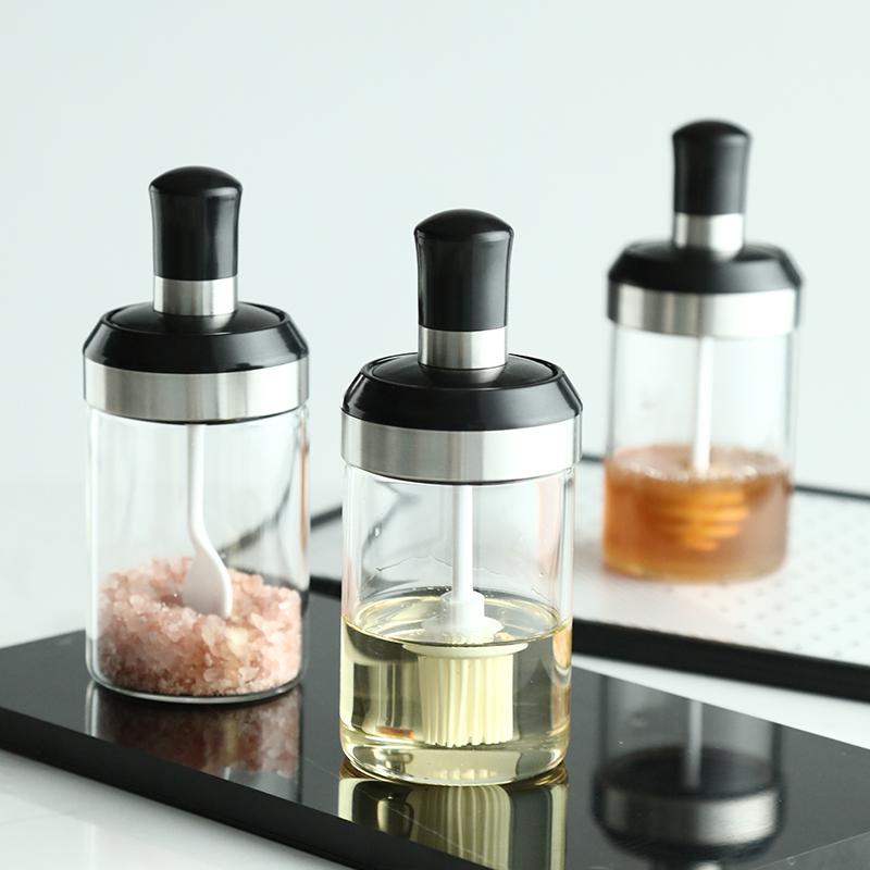 厨房辣椒罐蜂蜜瓶玻璃勺一体油瓶(用19.9元券)