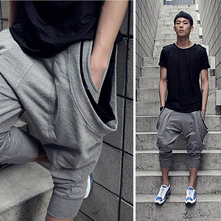 Cargo work clothes chic sports casual harem shorts mens summer thin loose 7-point corset