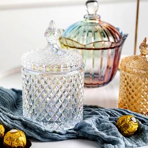 家居客厅欧式玻璃糖果罐装饰品玄关收纳盒储物罐子摆件糖缸创意