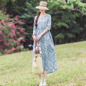 民族风2021夏季新款复古圆领连衣裙